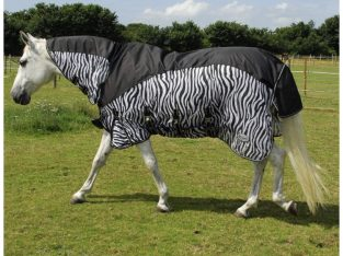 Rhinegold Masai Combined Horse or Pony Fly rug with added Turnout Protection Zebra Design All Sizes
