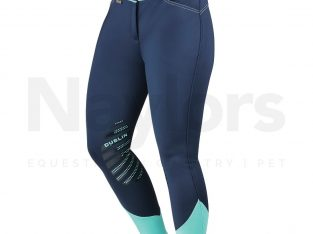 Dublin Ladies Thermal Gel Knee Patch Breeches Navy/Mint Jodhpurs
