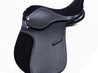 TOP QUALITY SYNTHETIC LEATHER HORSE SADDLE BLACK SUEDE SEAT 14, 15,16 INCH