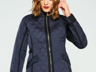 Women's Refined Quilted Trench Jacket: Navy