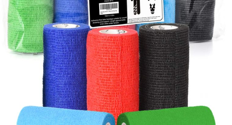 Roll over image to zoom in Vet Wrap Cohesive Bandage – 10cm X 4.5m Self Adhesive Bandages. 5 Rolls in 5 Colour