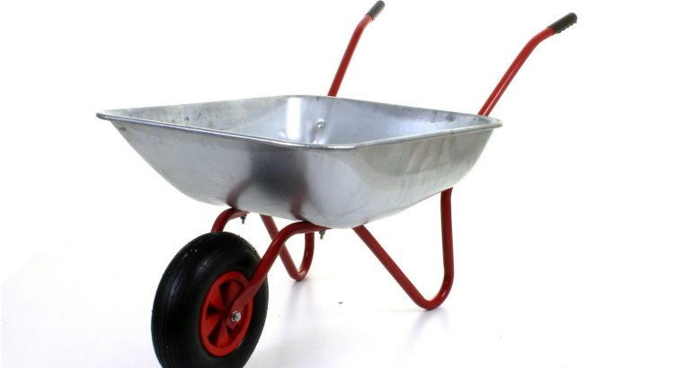 65L Metal Heavy Duty Galvanised Wheelbarrow 12″ Pneumatic Inflatable Tyre Garden FREE DELIVERY