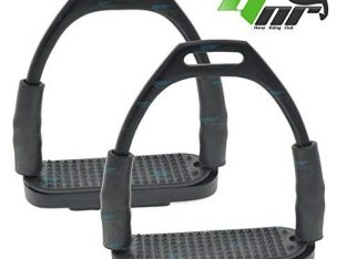 YNR ® Flexible Safety Stirrups Horse Riding Bendy Irons S. Steel Black 4.75
