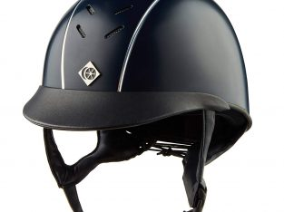 Charles Owen Ayrbrush Riding Helmet – Navy/Silver Pinstripe