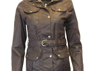 Walker & Hawkes – Ladies Belted Waxed 4 Pocket Jacket – Brown