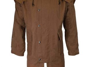 Walker & Hawkes – Unisex Waxed Long Cape Stockman Hooded Coat