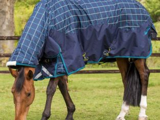 Mark Todd Turnout Rug Heavyweight Combo Navy/Jade/Beige Plaid
