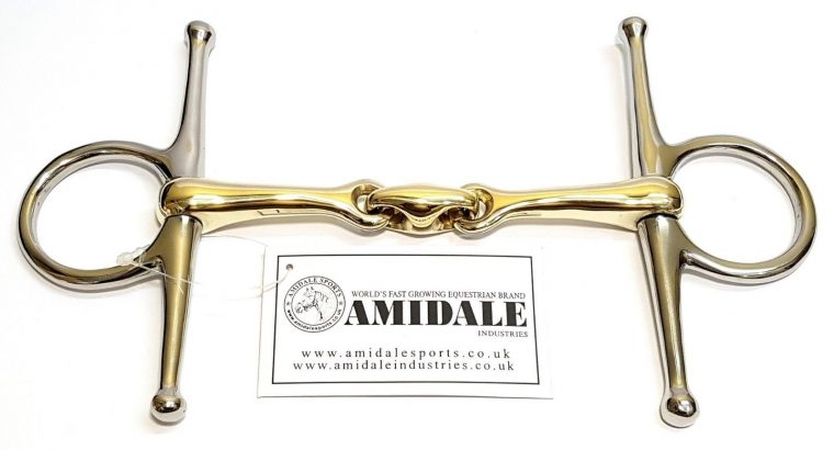 AMIDALE FULL CHEEK HORSE BIT COPPER MIX LOZENGE STAINLESS STEEL GERMAN STEEL