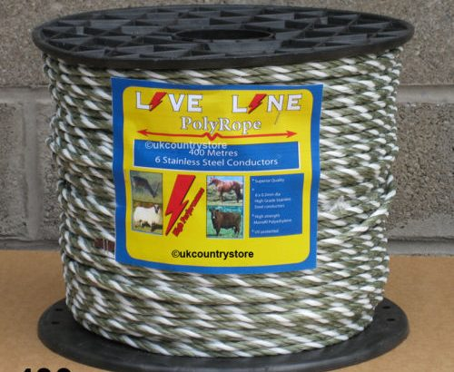 Green & White Electric Fence Rope 400m – 6mm Horse Fencing Poly Rope